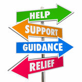 Help Support Guidance Relief Assistance Words Signs Stock Photos