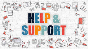 Help and Support in Multicolor. Doodle Design. Royalty Free Stock Photography