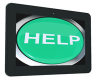 Help Tablet Shows Aid Assistance Or Answers Royalty Free Stock Photo