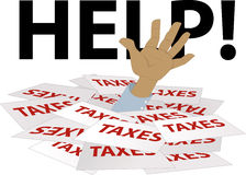 Help with taxes. Person's hand sticking out of a pile of tax forms, word help on the background, EPS 8 vector illustration Stock Photography