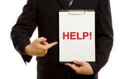 'HELP!' text on clipboard royalty free stock photos