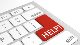 Help text on keyboard in red Royalty Free Stock Images
