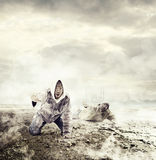 Help!!!. Two men asking for help in an environment polluted by toxic gas Stock Image