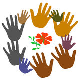 Help us grow. Colorful hands frame around a red flower illustration royalty free illustration