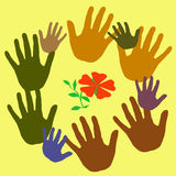 Help us grow. Colorful hands frame around a red flower illustration stock illustration
