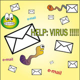 Help: virus !!. No virus internet and e.mail cartoon Royalty Free Stock Images