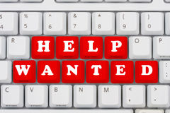 Help Wanted. Computer keyboard keys displaying now hiring, Help Wanted Stock Photography