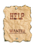 Help wanted. Western style - Help Wanted - notice on grunge paper - isolated on white Royalty Free Stock Images