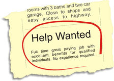 Help Wanted Ad Royalty Free Stock Photos