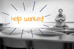 Help wanted against lecturer sitting in lecture hall Stock Images