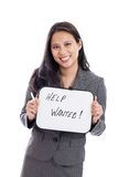 Help Wanted. Asian business woman holding help wanted sign isolated on a white background Royalty Free Stock Images
