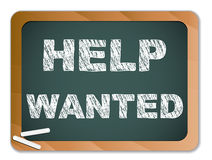 Help Wanted on Chalk Blackboard Stock Photos