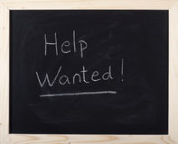 Help wanted expression. On blackboard Stock Photo