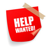 Help wanted. Notice paper on white background Stock Photo