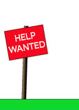 Help Wanted Sign. A red help wanted sign over a white background and room for copy space Stock Photography