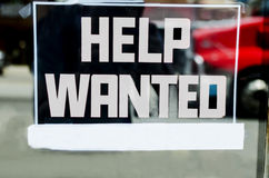 Help Wanted Sign With Space For Own Text. Help wanted sign outside of a store in the United States Stock Photos