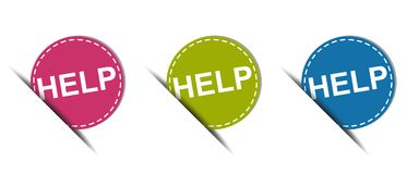 Help Web Button - Colorful Vector Icons - Isolated On White. Background Vector Illustration