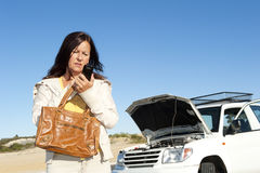 Help for woman car breakdown Royalty Free Stock Photos