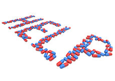 Help - Word in Red and Blue Capsules Stock Image