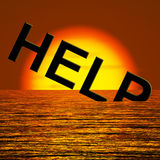 Help Word Sinking As Symbol For Needed Support Stock Photo