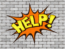 Help word written on the wall of white brick Royalty Free Stock Image