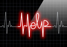 HELP written on black heart rate monitor Royalty Free Stock Photos