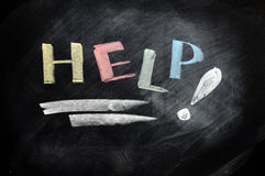 Help written with chalk Royalty Free Stock Image