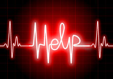 HELP written on red heart rate monitor Royalty Free Stock Photography