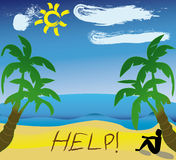 Help written in the sand. By a hopelessness cartoon caracter who rest under a palm. Additional  format is available Stock Images