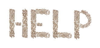 Help written with small cubes. Help written in letters formed with wooden cubes with letters isolated on white background Royalty Free Stock Photos