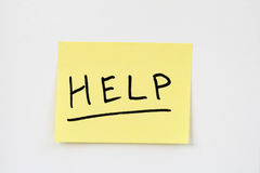 Help on yellow sticky note stock images