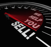 We Help You Sell Speedometer Sales Advice Consultant Service. The words We Help You Sell on a speedometer dial with needle rising to represent successful sales Royalty Free Stock Photography