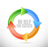 We help you succeed color cycle sign Stock Photo