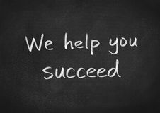 We help you succeed. Text on blackboard background vector illustration