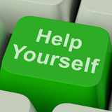 Help Yourself Key Shows Self Improvement Online. Help Yourself Key Showing Self Improvement Online Royalty Free Stock Photos