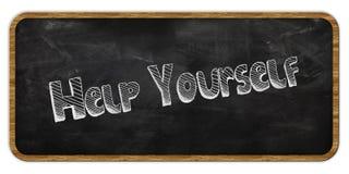 HELP YOURSELF written in chalk on blackboard. Wood frame. Stock Photography