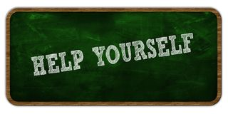 HELP YOURSELF written with chalk on green chalkboard. Wooden frame. Stock Image