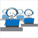 Helpdesk customer support. Helpdesk support service guiding customer Stock Image