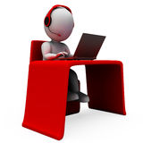 Helpdesk Hotline Operator Shows Support Stock Photography