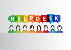 Helpdesk  illustration of group of call center employees ready to help. Stock Image