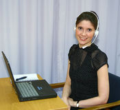 Helpdesk operator. Smiling operator Stock Photography