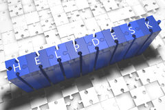 Helpdesk. Puzzle 3d render illustration with block letters on blue jigsaw pieces stock image