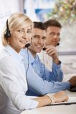 Helpdesk receicving calls Royalty Free Stock Image
