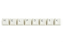 Helpdesk from scattered keyboard keys on white Stock Images