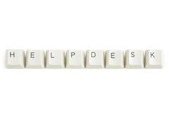 Helpdesk van verspreide toetsenbordsleutels op wit Stock Afbeeldingen