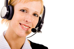Helpdesk woman with a headset Royalty Free Stock Photo