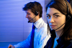 Helpdesk working late Royalty Free Stock Image