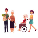Helpend grootmoeder met het winkelen en binnen wandelend haar rolstoel stock illustratie