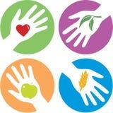 Helpende handen met betrekking tot de gezondheid Stock Foto's