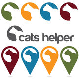Helper vector design template ,pins and web icons set Stock Photos
